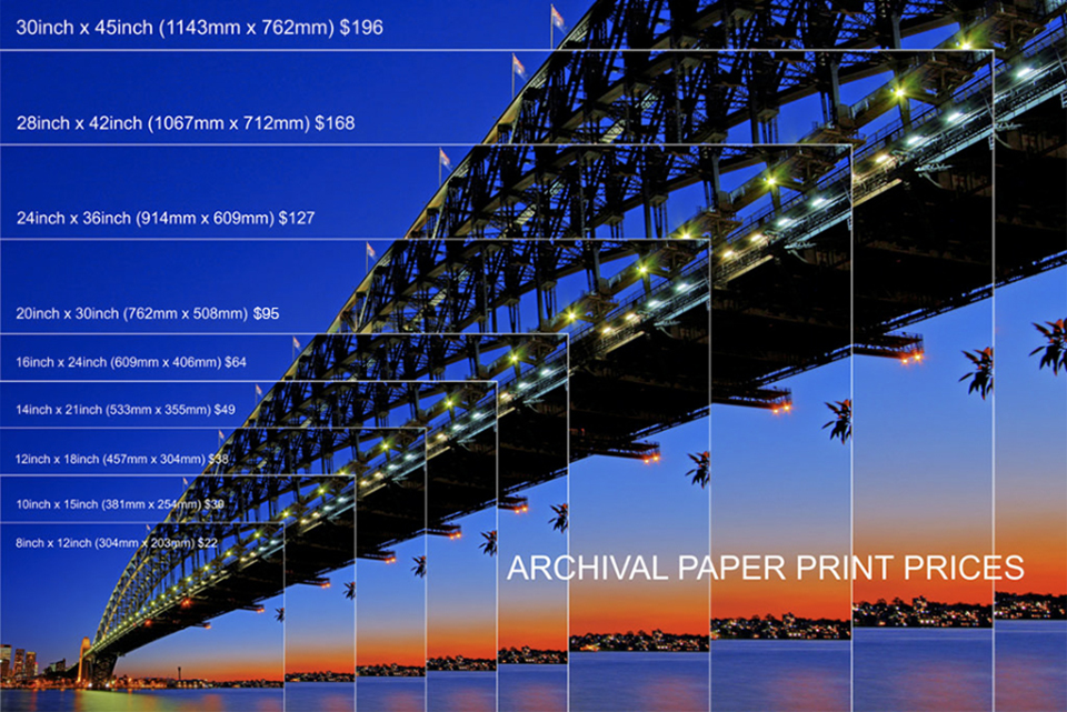 print sizes and pricing